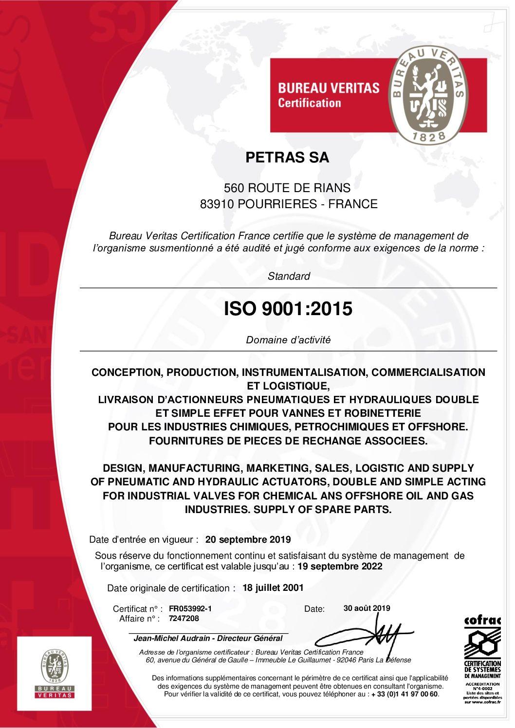 Certificat ISO 9001 PETRAS